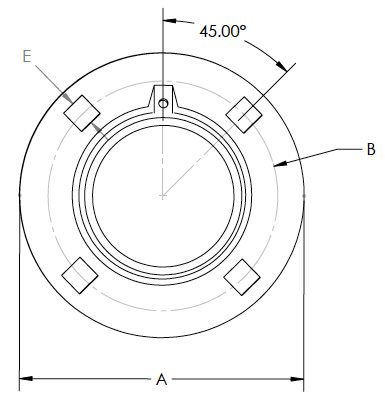 Four Bolt Relube Flange (Top View)
