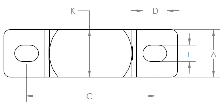 Stainless Steel Extra Wide Pillow Block (Top View)